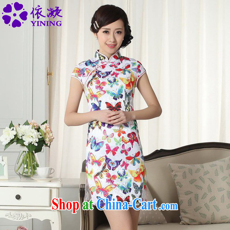 According to fuser summer new retro improved Chinese Chinese qipao, for a tight cultivating short-'s cheongsam dress LGD_D 0285 _S