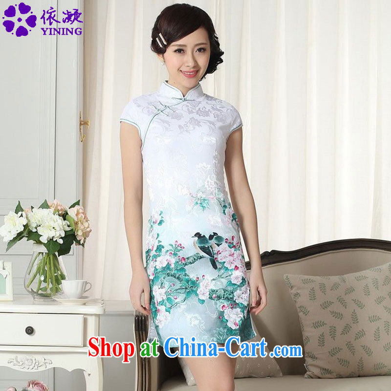 According to fuser summer stylish new female Chinese improved Chinese cheongsam dress, for a tight retro-tie cultivating short-sleeve cheongsam dress LGD_D 0284 _2 XL