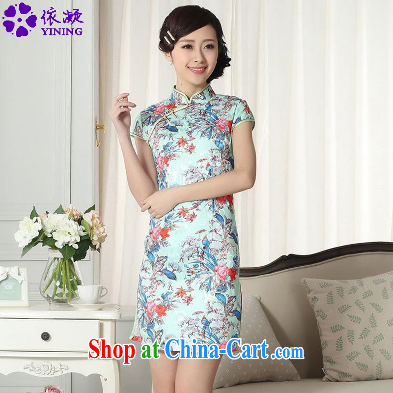 According to fuser summer new Chinese improved Chinese qipao, for a tight jacquard fashion beauty short cheongsam dress LGD/D 0282 #as figure 2 XL