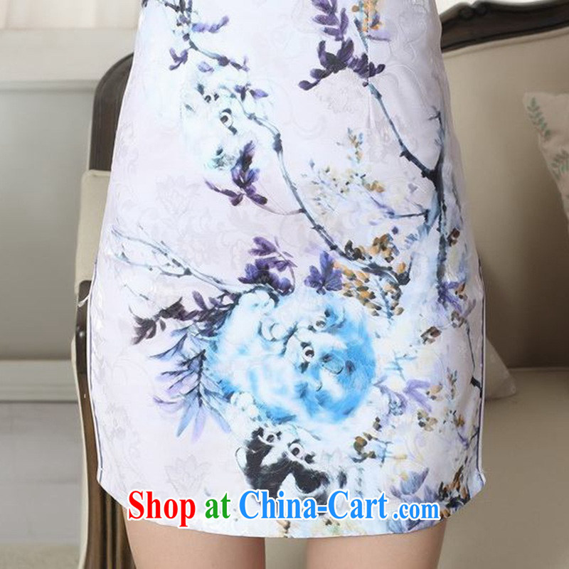 According to fuser summer stylish new Chinese improved Chinese cheongsam dress, for a tight retro-tie cultivating short cheongsam dress LGD/D #0281 figure 2 XL, fuser, and shopping on the Internet