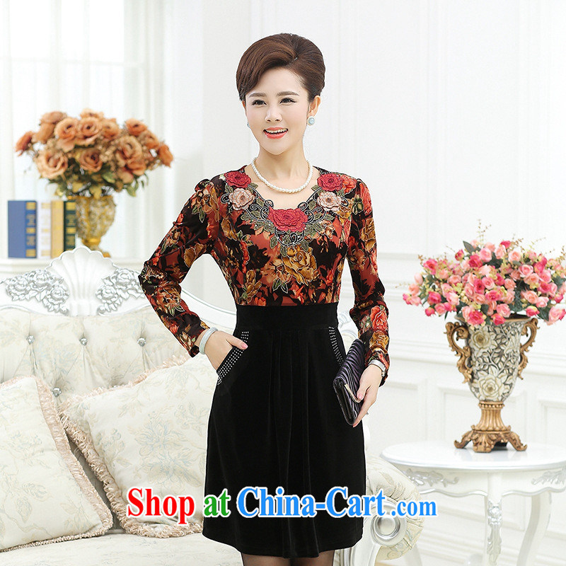 Black Butterfly Spring new, older Dress Casual stamp duty stitching Cultivating Female-dresses mom with floral 1 XXXXXL