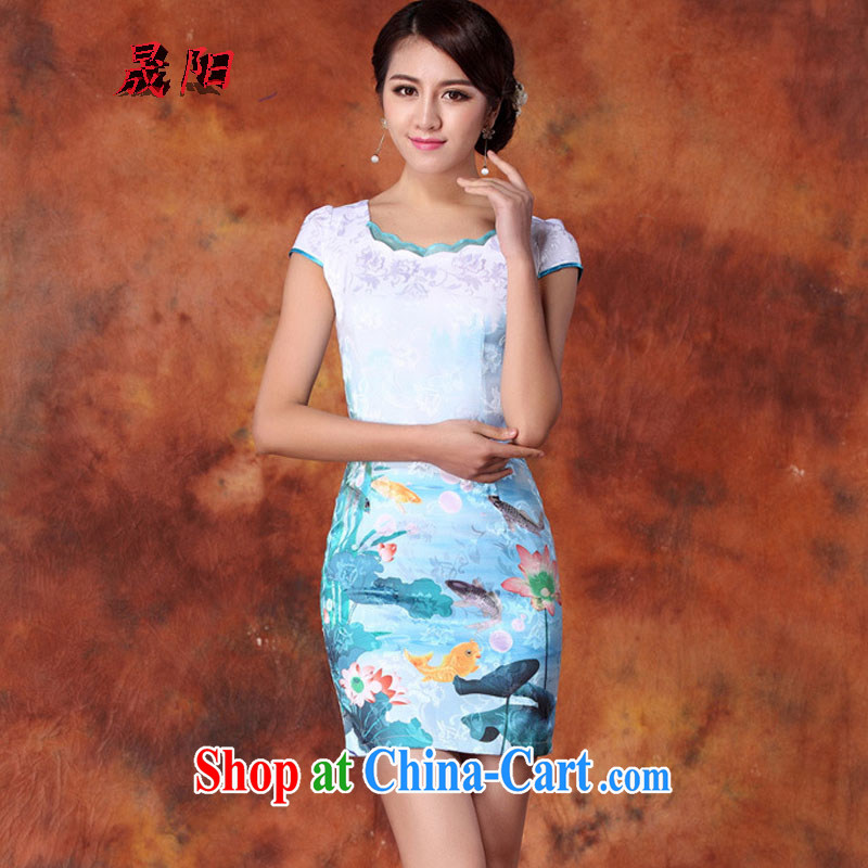 Sung Yang 2015 summer new Korean Beauty does not rule the collar Beautiful Stamp stylish women's clothing retro short sleeve cheongsam dress blue XXL