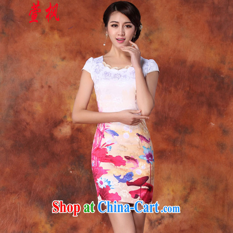 XUAN FENG 2015 summer new Korean Beauty does not rule with beautiful stamp stylish women's clothing retro short sleeve cheongsam dress red XXL