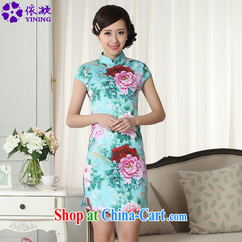 According to fuser summer stylish new female Chinese improved Chinese cheongsam dress, collar jacquard Sau San short Chinese qipao dress LGD/D #0280 figure 2 XL