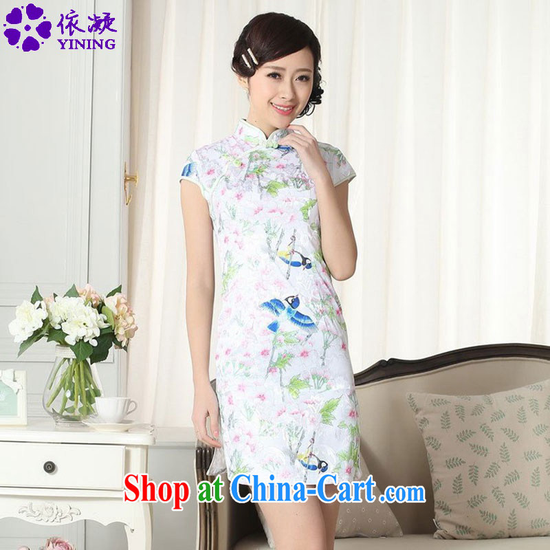 According to fuser new summer, female retro Ethnic Wind improved Chinese qipao stylish beauty short cheongsam dress LGD/D #0277 figure 2 XL