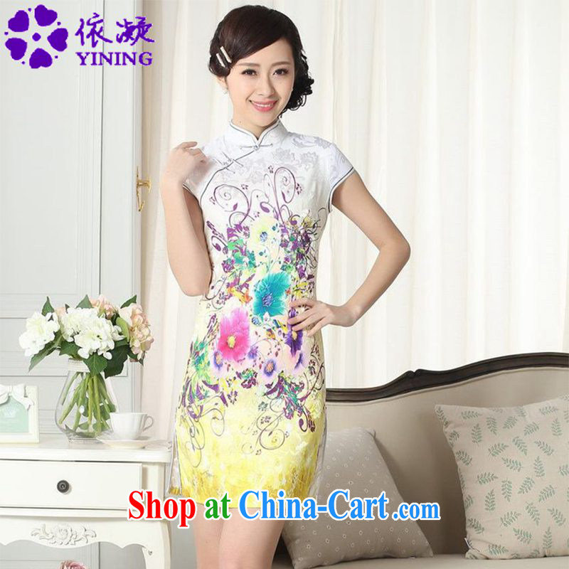According to fuser summer stylish new female Chinese improved Chinese qipao, for classical-tie Sau San short sleeve cheongsam dress LGD_D _0276 figure 2 XL