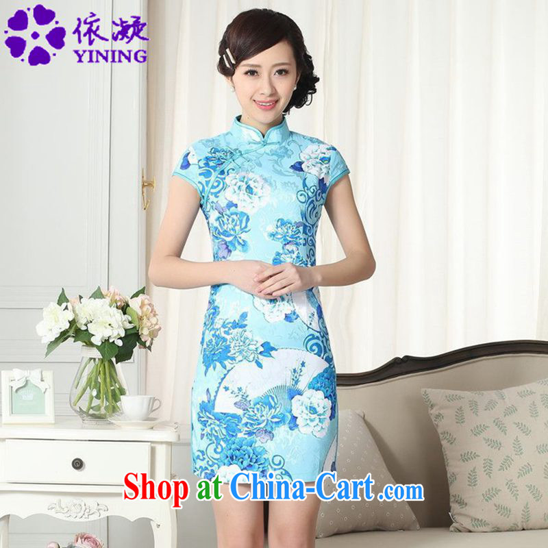 According to fuser summer new female retro improved Chinese Chinese qipao, for a tight Classic tray for cultivating short cheongsam dress LGD_D _0275 figure L