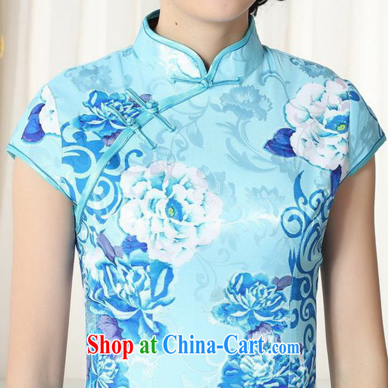 According to fuser summer new female retro improved Chinese Chinese qipao, for a tight Classic tray for cultivating short cheongsam dress LGD/D #0275 figure L, according to fuser, and shopping on the Internet