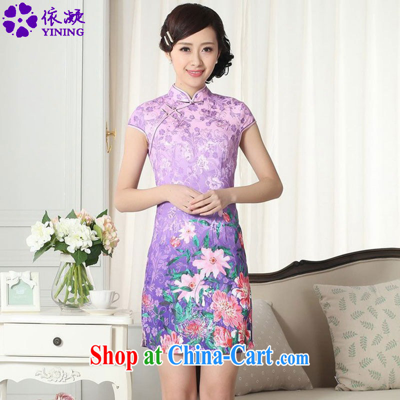 According to fuser new female Chinese Chinese cheongsam dress lady stylish jacquard cotton cultivating short cheongsam dress LGD/D #0274 figure 2 XL