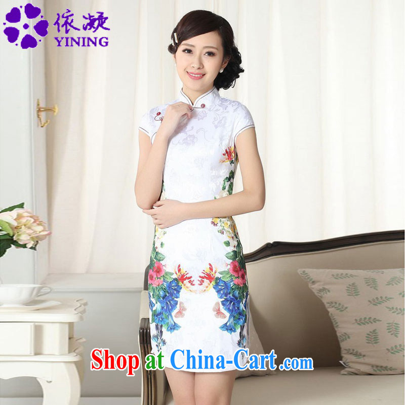 In accordance with fuser summer stylish new female Chinese improved Chinese qipao Classic tray snaps up collar jacquard Sau San cheongsam dress LGD/D #0273 figure 2 XL