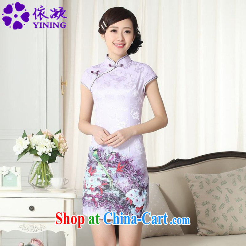According to fuser new female Chinese qipao gown lady stylish jacquard cotton cultivating short cheongsam dress LGD/D #0272 figure 2 XL