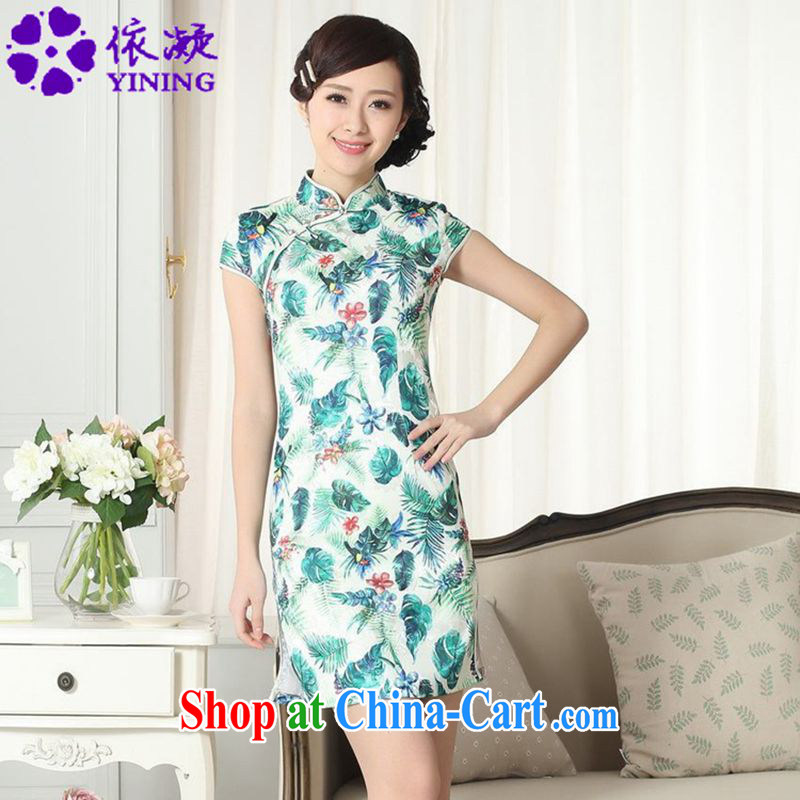 According to fuser summer new female Chinese improved Chinese cheongsam dress stylish beauty Classic tray snaps short-sleeved cheongsam dress LGD/D #0271 figure 2 XL