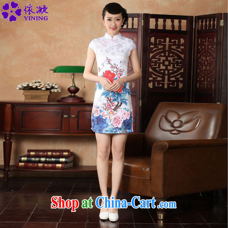 According to fuser new female retro improved Chinese Chinese qipao, for a tight Classic tray for cultivating short cheongsam dress LGD/D 0228 #red 2 XL