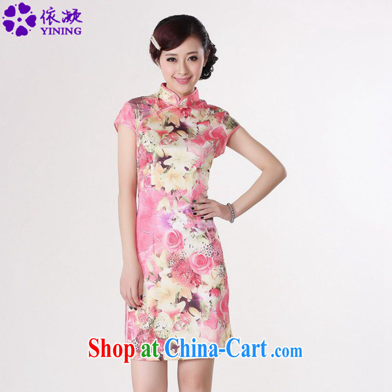 According to fuser summer new female daily improved Chinese Chinese qipao retro-tie cultivating short Chinese qipao dress LGD_D _0198 figure 2 XL