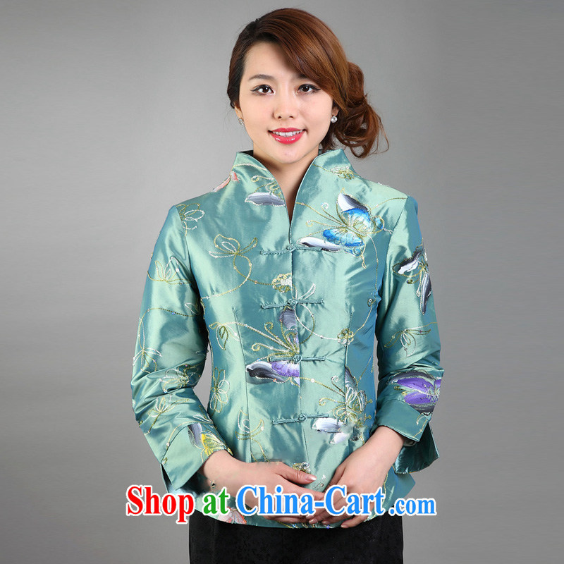 Mrs Ingrid sprawl economy 2015, Chinese, for hand-painted butterfly improved Chinese long-sleeved T-shirt green XXXL