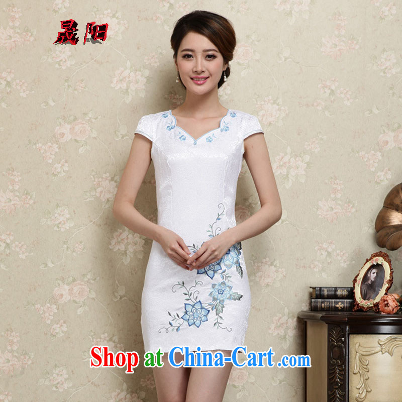 Sung Yang 2015 summer new Korean version does not rule with beauty and stylish embroidered retro ladies short-sleeve cheongsam dress blue XXL