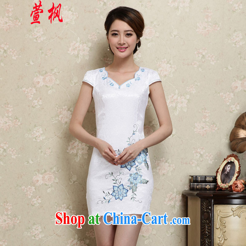 XUAN FENG 2015 summer new Korean version does not rule with beauty and stylish embroidered retro women short sleeve cheongsam dress blue XXL