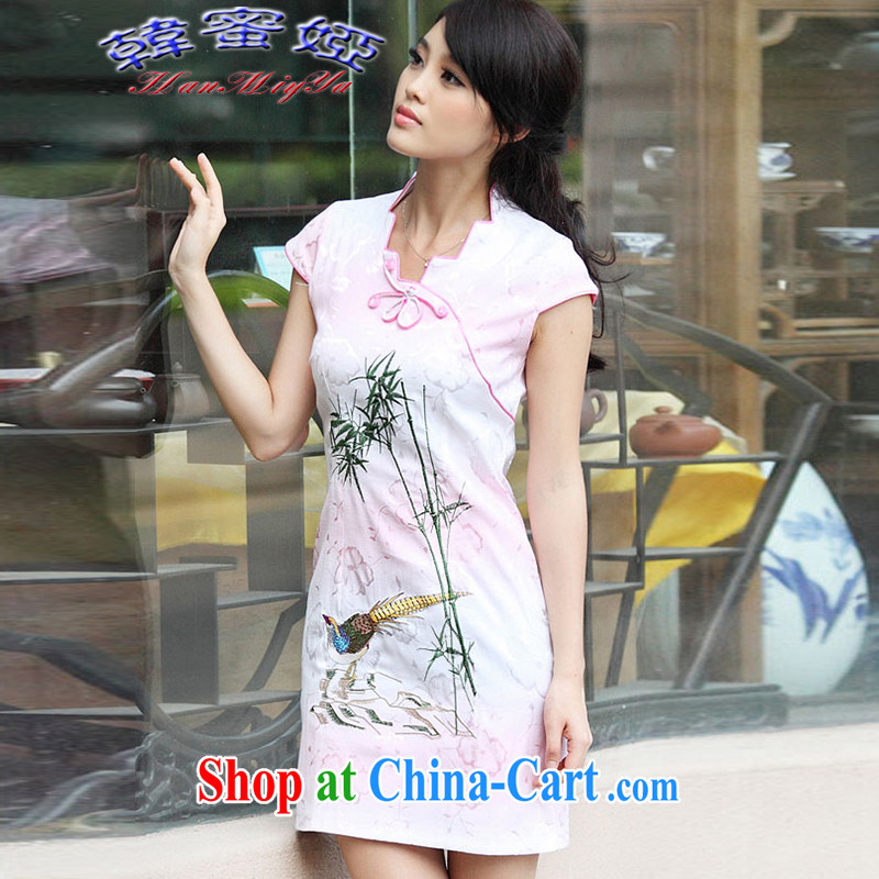 Korean honey Julia 2015 new summer female with short-sleeve retro cheongsam dress dresses DRA 69,103 pink XL