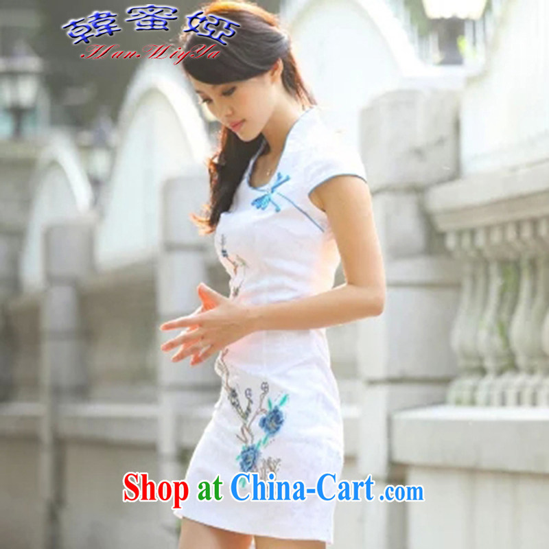 Korean honey Julia summer 2015 new improved cheongsam Chinese elegant and stylish everyday dresses skirts DRA 69,163 blue XL