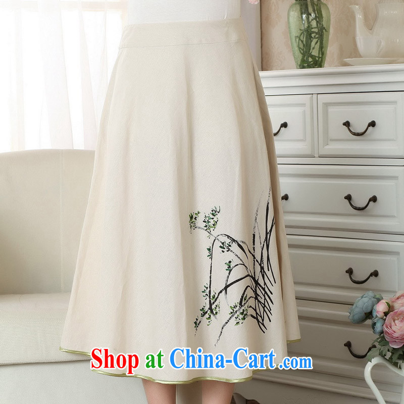 Miss Au King Jung-led summer 2015 new female A Field skirt elegant antique paintings improved cheongsam dress skirt body P M 0011