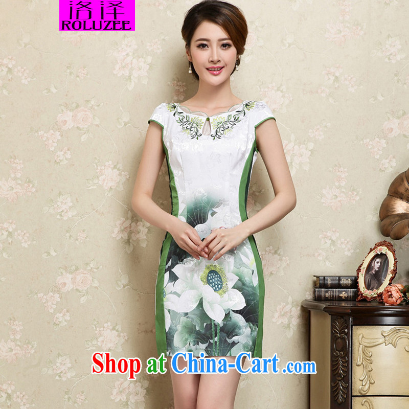 Los Angeles Summer 2015 new women who are decorated in traditional costumes dresses stylish short-sleeve does not rule for the Lotus pattern beauty dresses cheongsam Green S