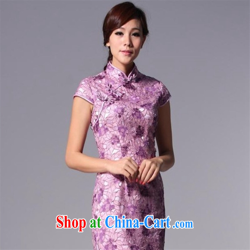 Health Concerns dress _ HIV can also Chinese Antique style improved cheongsam Openwork marriages bows dress QP 110 - 3 purple XXXL
