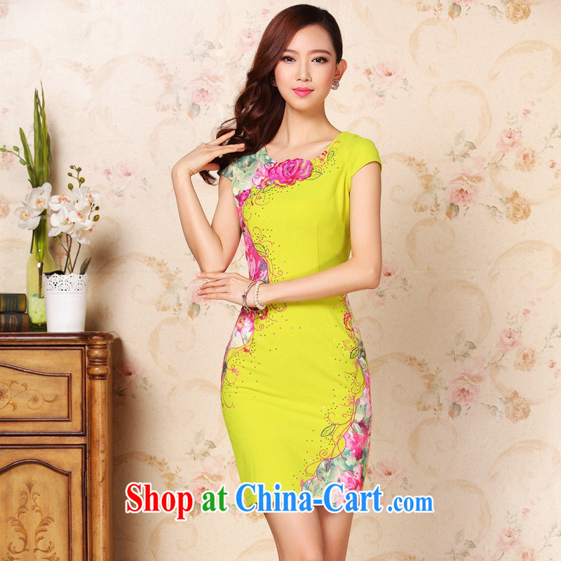 Health Concerns dress * 2014 autumn and winter new improved stylish three-dimensional embroidery without the forklift truck daily short cheongsam dress the Aura picture color XXL