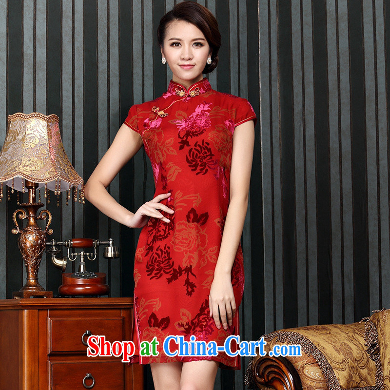 Health Concerns dress _ 2014 Chinese classical improved cheongsam silk black flower lint-free cloth and stylish banquet short cheongsam retro videos cheongsam floral XXXXL