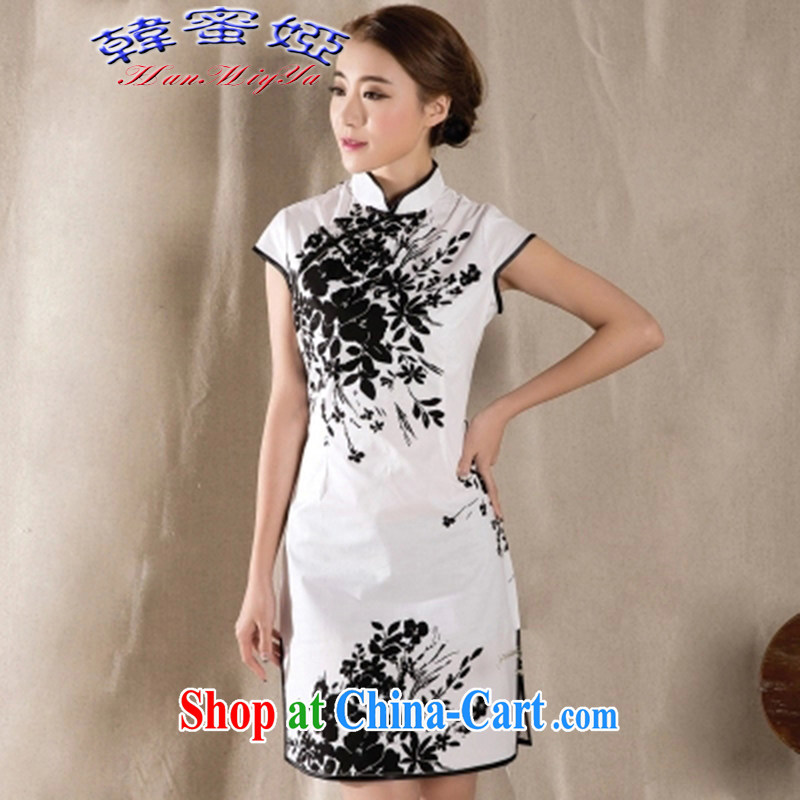 Korean honey Julia 2015 summer new stylish improved retro dresses China wind stamp dresses DRZ 12,253 white XXL