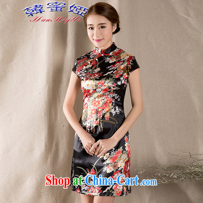 Korean honey Julia 2015 new spring and summer short-sleeved improved retro China wind female cheongsam dress DRZ 12,273 fancy XXL