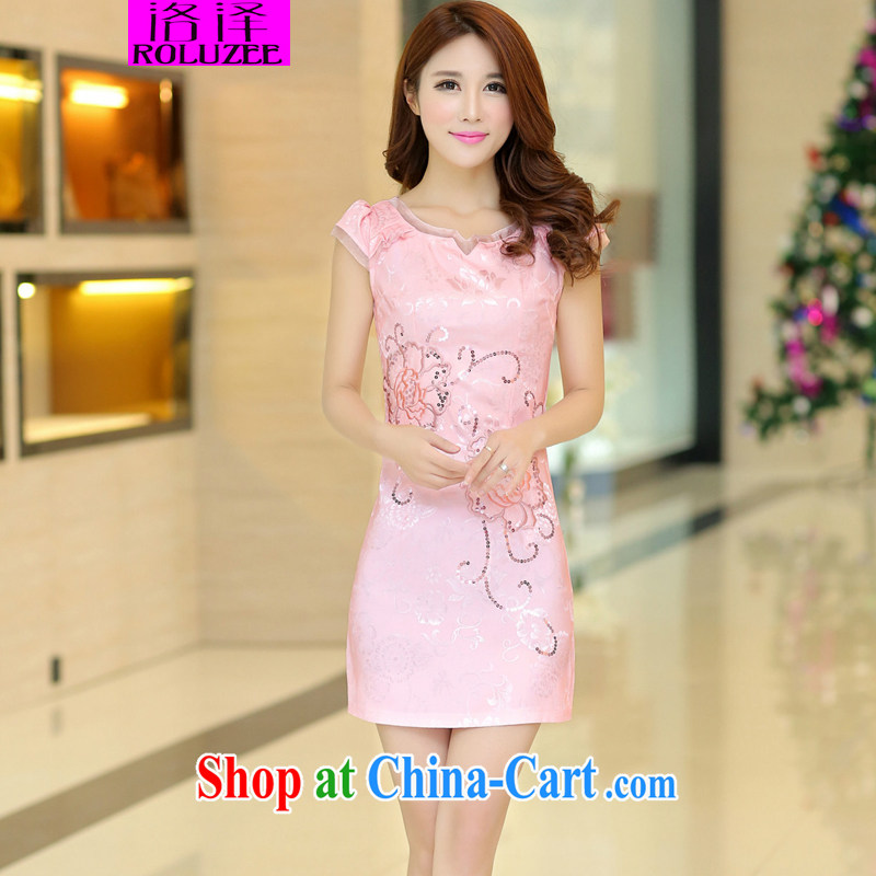 Los Angeles Summer 2015 new female retro elegant embroidery short cultivating improved cheongsam dress pink L