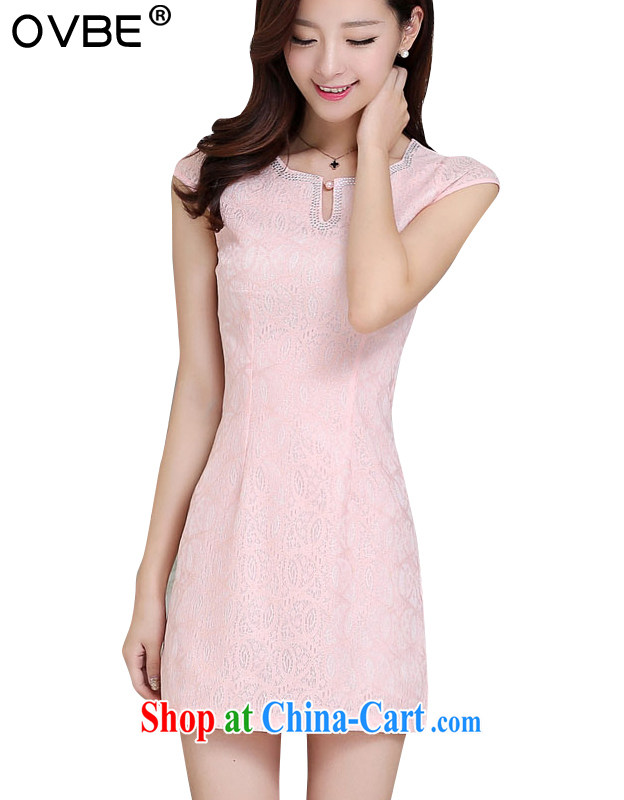 OVBE Korean version 2015 summer new cultivating classical charm lady lace inserts drilling Tang pack and cheongsam dress girls pink, silk scarf XXL
