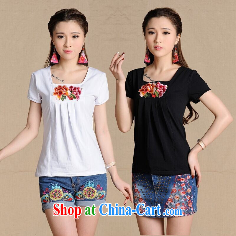 Health Concerns dress * MX 9199 National wind women's clothing spring and summer new embroidered cultivating short-sleeve party collar cotton shirt T black 2XL
