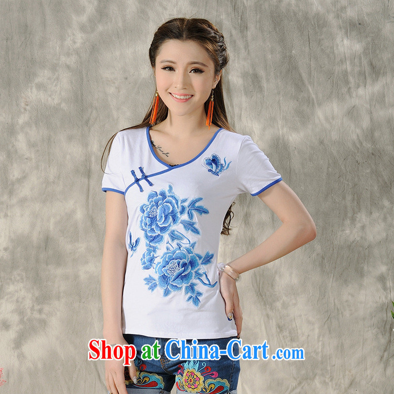 Health Concerns dress _ H 9494 National wind women's clothing 2015 spring and summer new blue and white porcelain embroidered short sleeves shirt T white 2XL