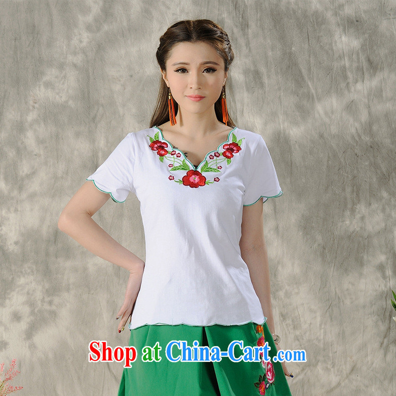 Health Concerns dress _ H 9485 National wind women's clothing 2015 spring and summer, embroidery petal, with a short-sleeved shirt T white 2XL