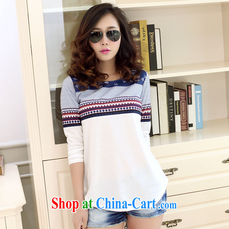 For health concerns dress * 8220 #New Korean version spring 2015, female loose the mighty code stamp T pension female white XL