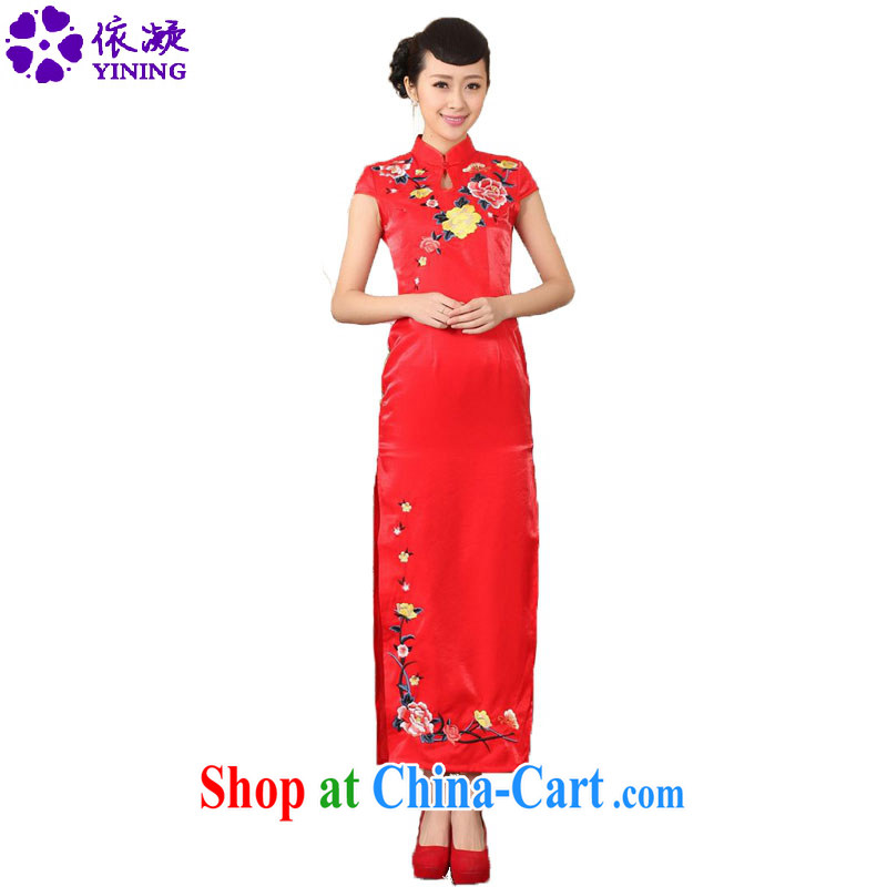 According to fuser summer new female Chinese improved Chinese cheongsam dress, for a tight cultivating short-sleeved long cheongsam dress LGD_C 0006 _red 2 XL