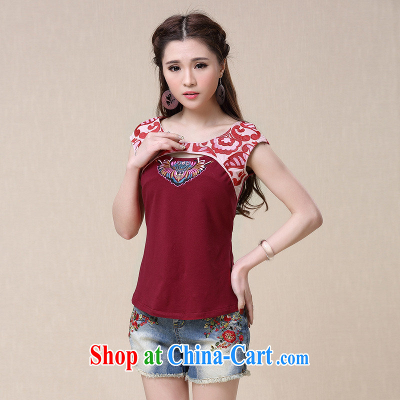 Health Concerns dress * BL 8955 National wind women's clothing spring and summer new to the embroidery stitching cultivating short-sleeved shirt T red 2 XL
