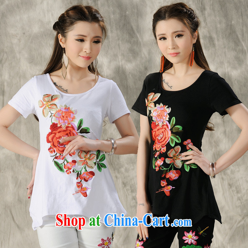 Close deals with clothing _ H 9487 National wind women's clothing spring and summer, the embroidery is not rules, with a short-sleeved shirt T white 3XL