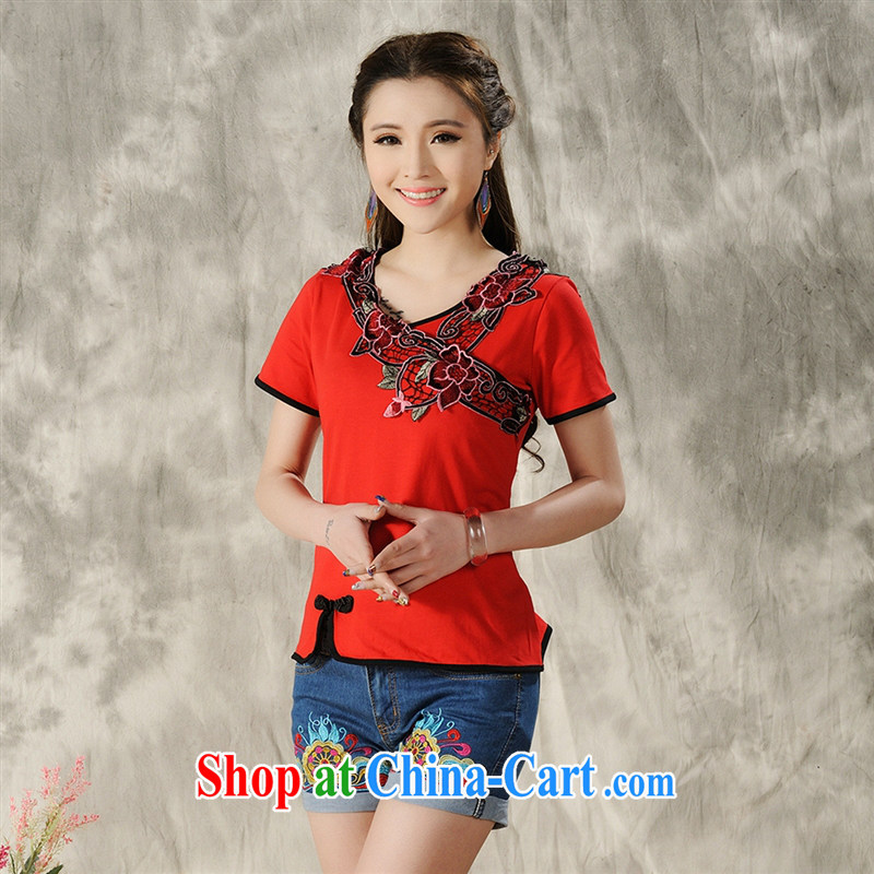 Health Concerns dress * W 8212 National wind women's clothing spring and summer new retro-tie V collar embroidered short sleeve cotton shirt T red 2 XL