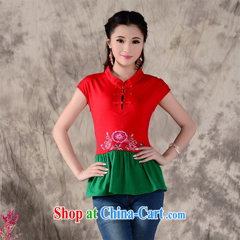 Health Concerns dress _ W 861 Ethnic Wind female original spring and summer New Tile collision color embroidered short sleeve cotton shirt T red 2 XL