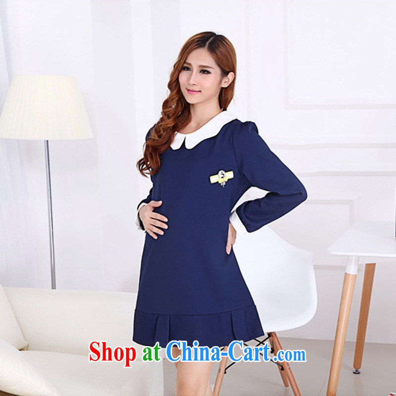 Close deals with clothing * () 901 #2015, spring dresses and stylish loose the code with Korean pregnant women (known) Blue XL