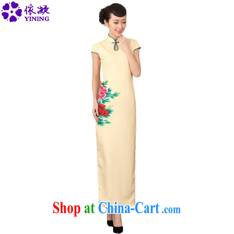 According to fuser new summer, female retro improved daily Chinese qipao, for tight dripping beauty long cheongsam dress LGD_C 0007 _yellow 2XL