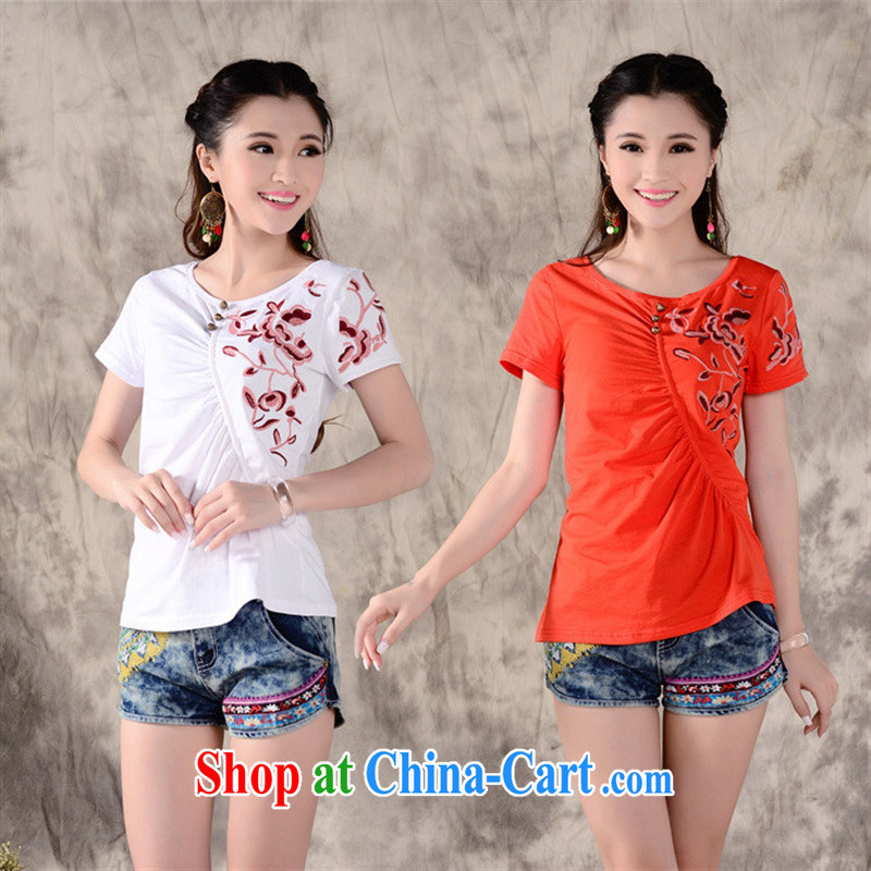 Close deals with clothing _ W 862 Ethnic Wind female spring new round-neck collar beauty embroidered stitching strangled hem short sleeves shirt T white 2XL