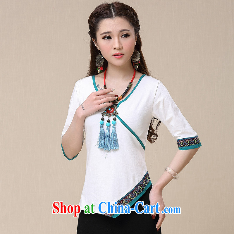 Health Concerns dress _ BL 8957 National wind women's clothing spring and summer new V collar cuffs asymmetrical embroidered cotton shirt T black L