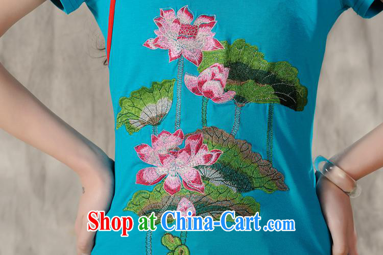 Health Concerns dress * X 3503 National wind women's clothing spring and summer new embroidery antique round-collar cultivating short-sleeved cotton shirt T white 4XL pictures, price, brand platters! Elections are good character, the national distribution, so why buy now enjoy more preferential! Health