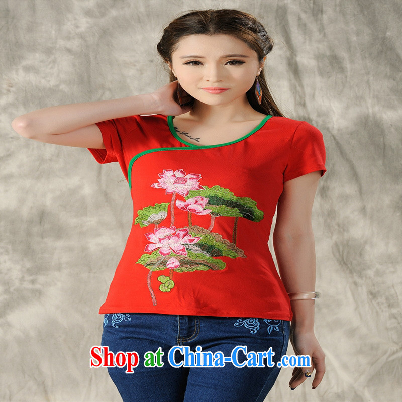 Health Concerns dress * X 3503 National wind women's clothing spring and summer new embroidery antique round-collar cultivating short-sleeved cotton shirt T white 4XL, health concerns (Rvie .), and, on-line shopping