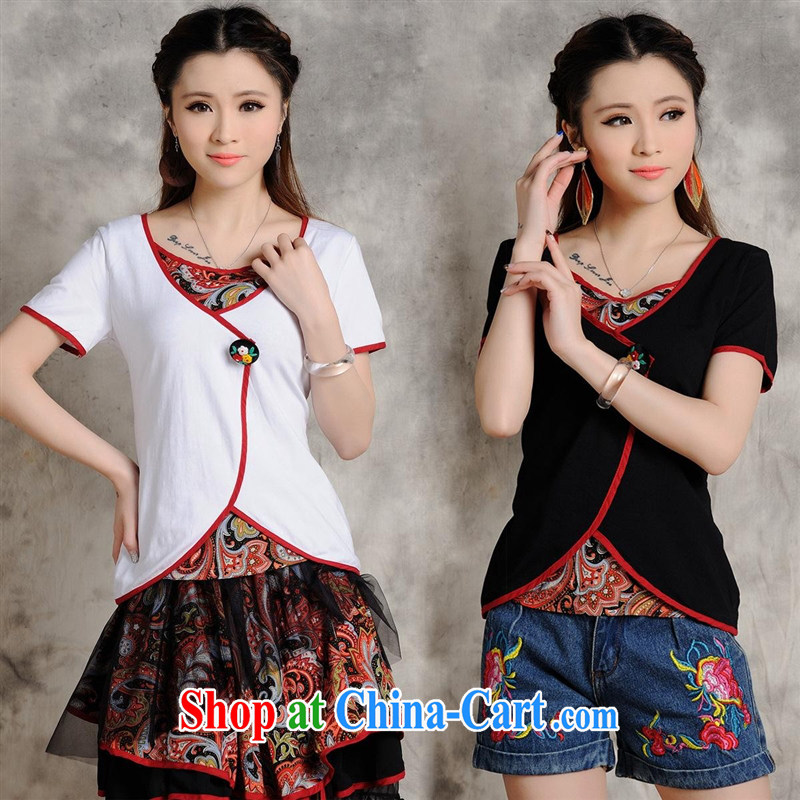 Health Concerns dress * W 8203 National wind women's clothing spring and summer new European root yarn China wind short-sleeved embroidered stamp T shirt black 2 XL