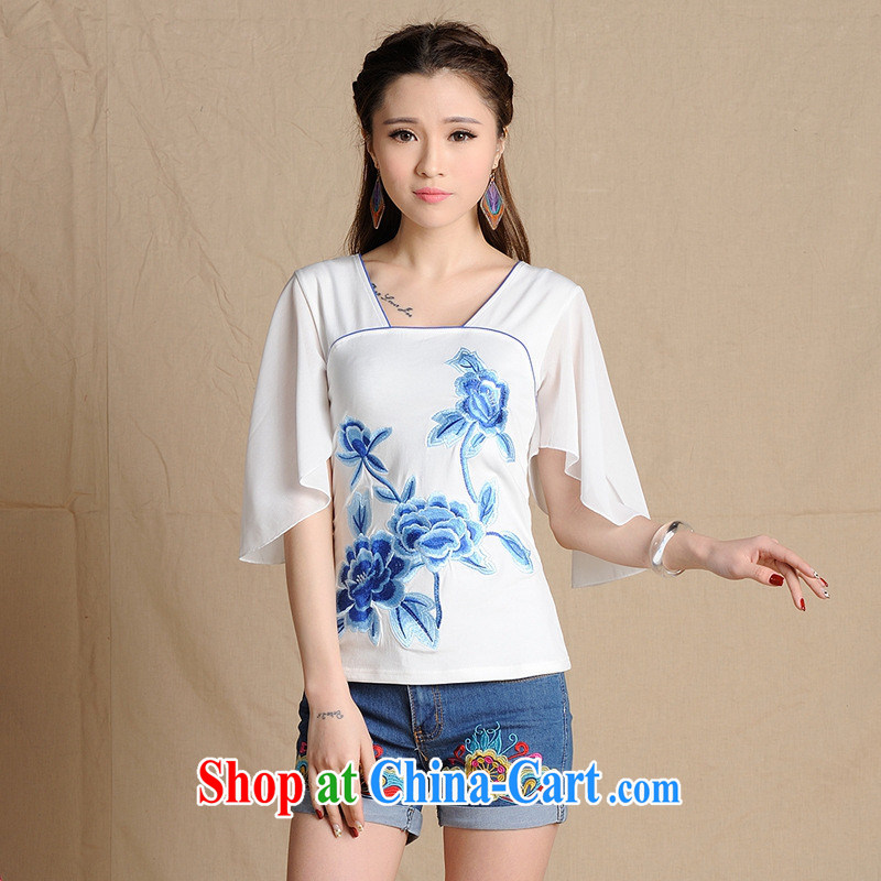 Health Concerns dress _ MX 9198 National wind women's clothing spring and summer new blue embroidery Pearl snow woven fly cuff cotton T white 2XL