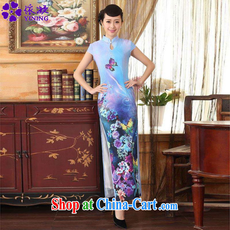 According to fuser summer new Chinese improved Chinese cheongsam dress, beauty for long, short-sleeved cheongsam dress LGD_C 0009 _sky M